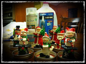 Ornaments have been sprayed down and glued down.