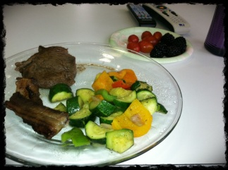 Yesterday's Lunch. Boy oh boy have I missed my grassfed steak!