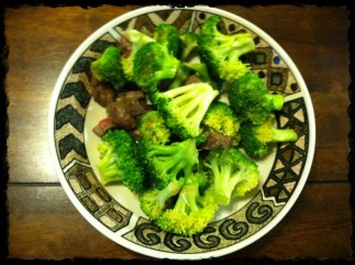 Quick Breakfast. Took my leftover steak, chopped it up, sauteed it with some coconut aminos, added broccoli! BOOM!