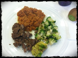Ground beef, YUMMO Spanish FAUX Rice, Broccoli stir fry