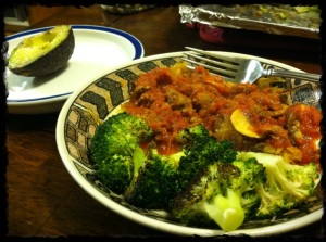 1/10/13 Dinner of Spaghetti Squash, Roasted Broccoli, Pasta/Meat Sauce, and Avocado