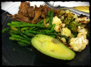1/10/13 Lunch of Pulled Pork, Roasted Cauliflower and Broccoli, Asparagus and Avocado