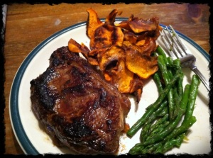 1/14/13 Dinner: 12oz Steak of which I only ate half, Sweet Potato Chips (cooked in Ghee) and Asparagus with Olive Oil Drizzle