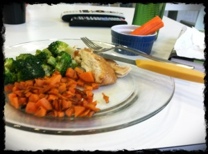 1/14/13 Lunch: Roast Chicken, Broccoli, Sweet Potatoes and Carrot with Sunflower Butter