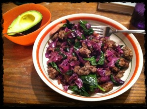 1/17/13 Dinner: Leftover ground beef with leftover cabbage and added some spinach. That avocado was heavenly!