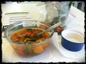 1/17/13 Lunch - Chicken Soup with Kale, Carrots, Sweet Potatoes and Chicken. See my ramekin full of coconut flakes!