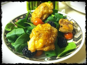 Dinner 1/22/13 – Chicken thighs on a bed of spinach, grape tomatoes and blackberries.