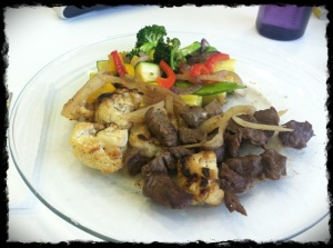Lunch 1/21/13 - Cut up steak marinated in coconut aminos and other spices, roasted cauliflower, sauteed mixed veggies.