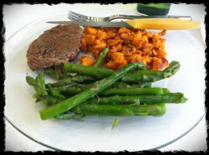 1/22/13 Lunch – Grassfed steak, asparagus and sweet potatoes.
