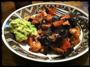 1/24/13 Dinner – More sauteed chicken, onions, tomatoes, red chard, guacamole.