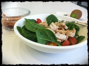 1/24/13 Lunch - Sauteed Chicken, tomatoes adn spinach, with sweet potato chips and kiwi.