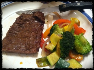 1/28/13 Dinner – Skirt Steak, Mixed Veggies, Coconut Flakes