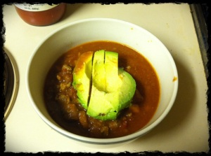 Not the best pic, Chili with sweet potato, avocado on top. YUM!