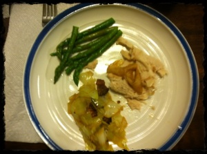 Roasted Chicken, Asparagus, Bacon Fried Cabbage. Not the prettiest pic but it was good and I promise it was good!