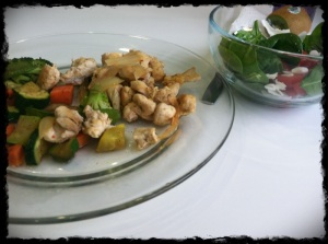 2/11/13 Lunch – Sauteed Chicken, Mixed Veggies, Spinach, Cherry Tomatoes and Coconut Flakes