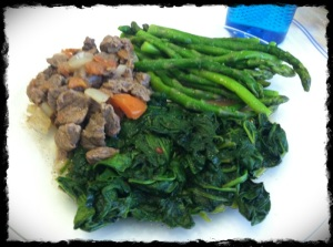 3/11/13 Lunch – Sirloin, Spinach and Asparagus! GREEN!
