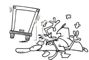 0511-0902-0200-0035_Black_and_White_Cartoon_of_a_Man_Just_Hit_By_a_Truck_clipart_image