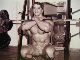 "Heheh Arnold showing you what I call a ""frankenstein"" front squat."
